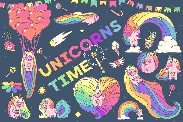 ♥ vector SET Unicorns time