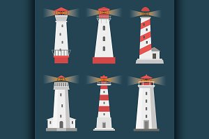 set of cartoon flat lighthouses