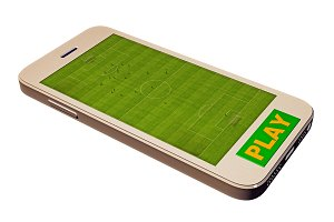 Soccer field on the mobile phone screen