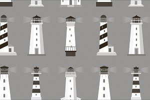 Set of lighthouses pattern