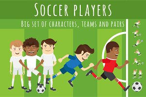 Set of Funny football soccer players