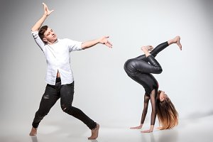 Two people dancing in contemporary stile