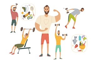 People workout with sports equipments, exercises with dumbbells healthy lifestyle and proper nutrition