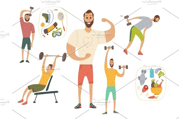 People Workout With Sports Equipments Exercises With Dumbbells Healthy Lifestyle And Proper Nutrition