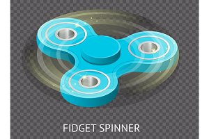 Isometric 3d vector a blue fidget spinner or hand spinner. Fidget toy for increased focus, stress relief on Transparent layer