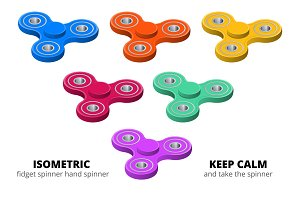 Isometric 3d vector set of fidget spinners or hand spinners. Fidget toys for increased focus, stress relief.