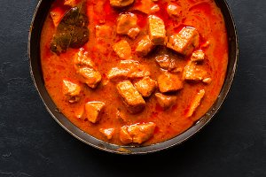 stew with spices in a frying pan