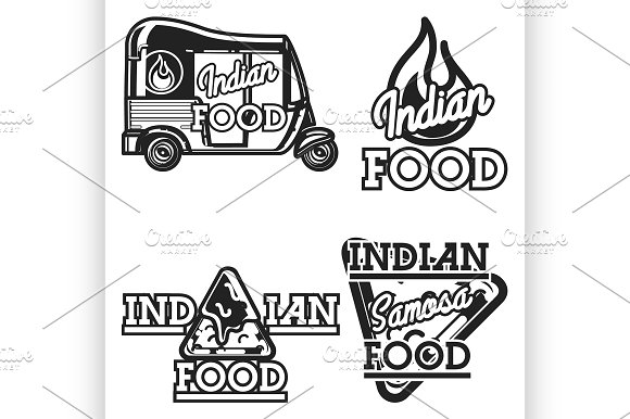 Color vintage indian food emblems