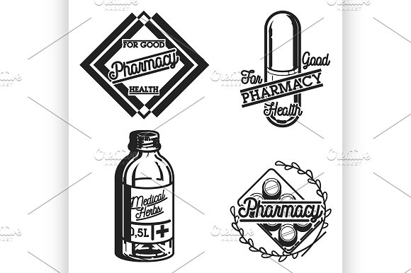 Color vintage pharmacy emblems