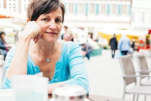 Senior Woman Enjoying A Cup Of Coffee, Tuebingen, Germany