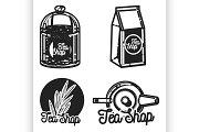 Color vintage tea shop emblems