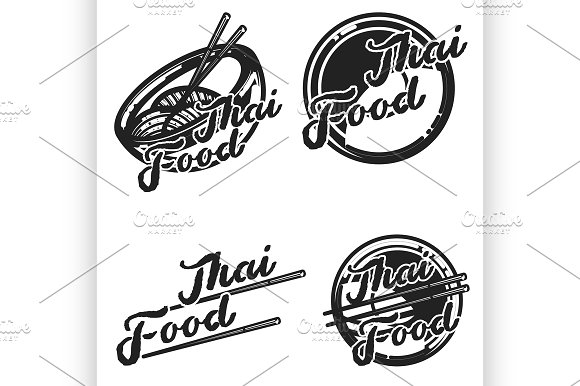 Color vintage thai food emblems