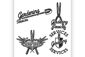 Color vintage gardening emblems
