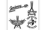 Color vintage gardening emblems