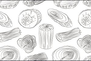Wood stumps vector set pattern