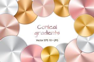 Brilliant conical golden gradients