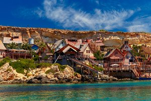 Famous Popeye Village at Anchor Bay, Malta