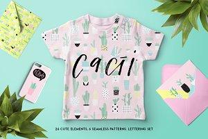 Cute cacti set
