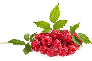 Raspberry fruit with leaf