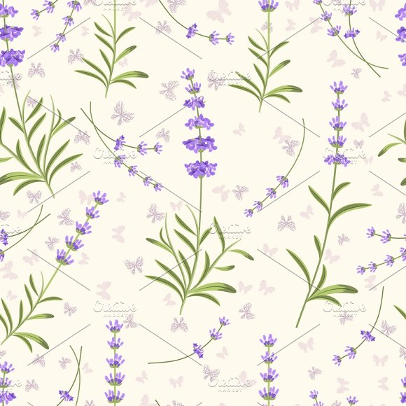 Lavender Seamless Vector Pattern