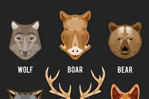 Animals heads flat icons