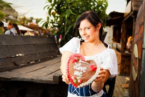 Young German Woman With Gingerbread Heart