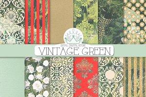VINTAGE TEXTURES green digital paper