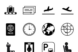 Airport and traveling vector icons