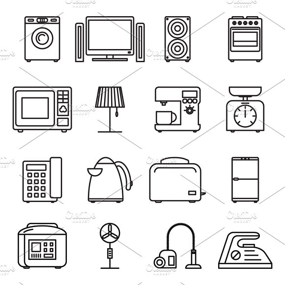 Thin Line Home Appliances Icons