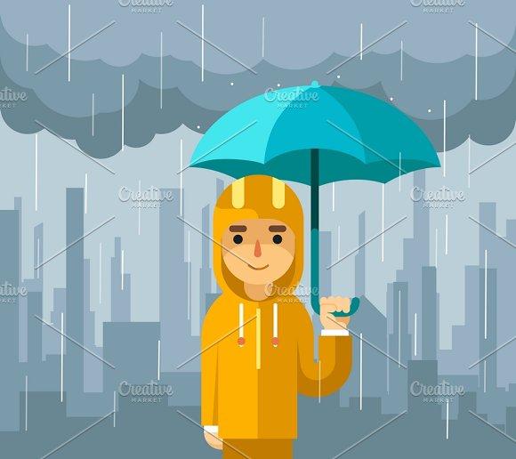 Under Rain With Umbrella