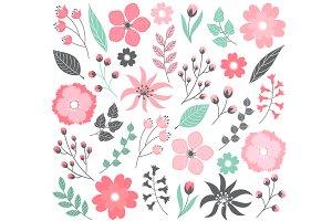 Pink Pastel Floral Set
