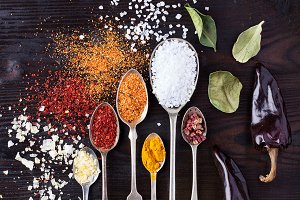 Various asian spices in spoons