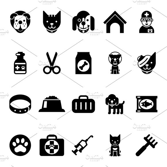 Pets And Veterinary Medicine Icons