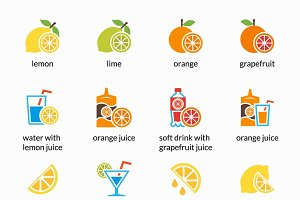Citrus vector icons