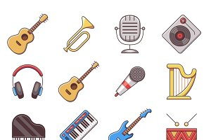 Music instruments color flat icons