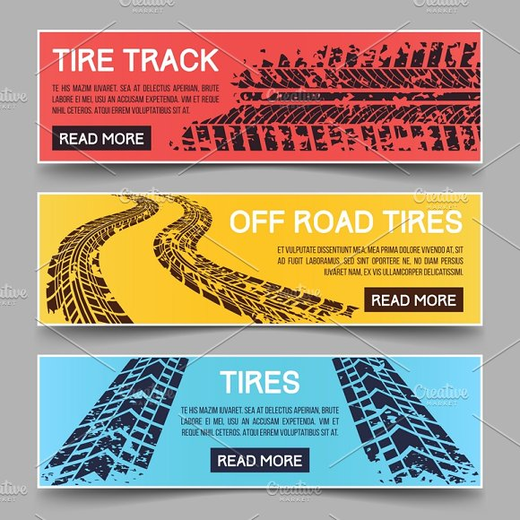 Tire Tracks Vector Banners Set