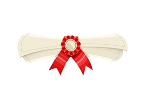 Diploma scroll with medal and red ribbon