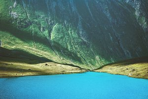 Blue Lake in Mountains Landscape
