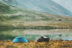 Tent camping at foggy Mountains