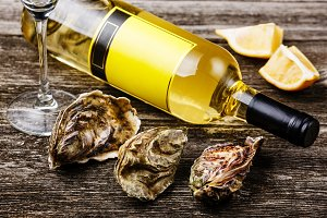 Oysters and bottle of wine