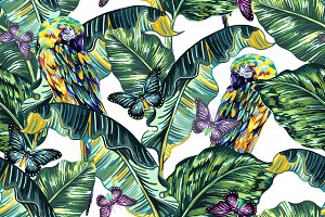 Tropical leaves,parrots pattern