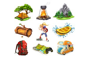 Camp and adventure, vector set