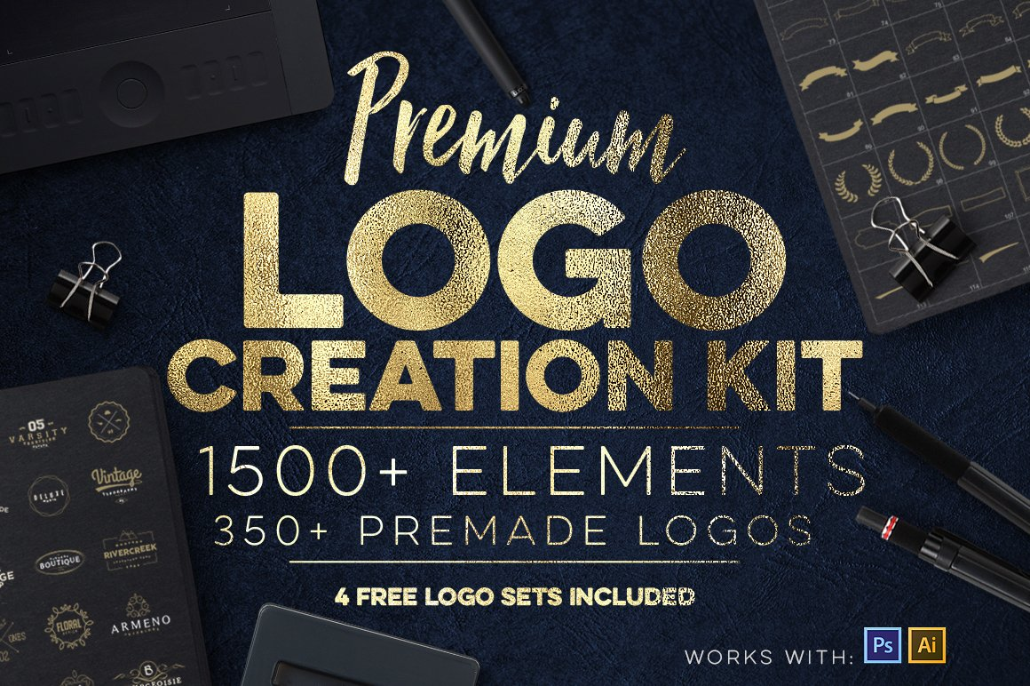 Logo creation kit bundle edition logo templates creative market baditri Gallery