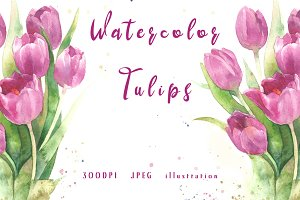 SALE! Watercolor bouquet of tulips