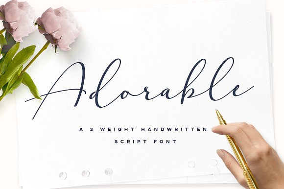 1594327 Adorable Handwritten Script Font on Handwriting Cursive