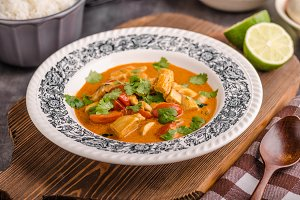 Delicious chicken curry with vegetable