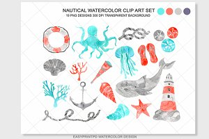 Watercolor Nautical Clip Art