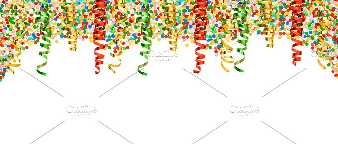 Confetti and Streamer. Party Deco - Holidays