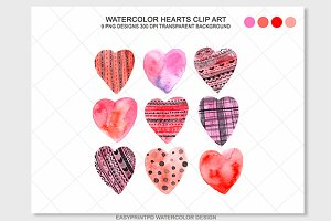 Watercolor Valentines Hearts Clipart