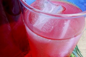 Glass with fruit soda